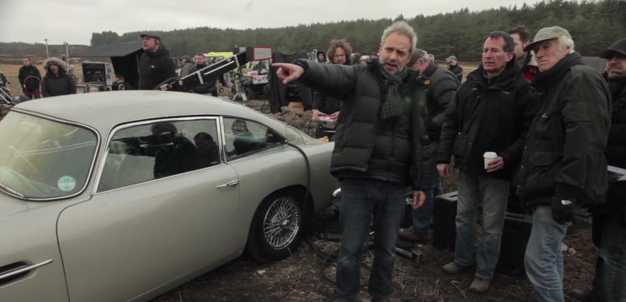 Sam Mendes og holdet på optagelser i Skotland.